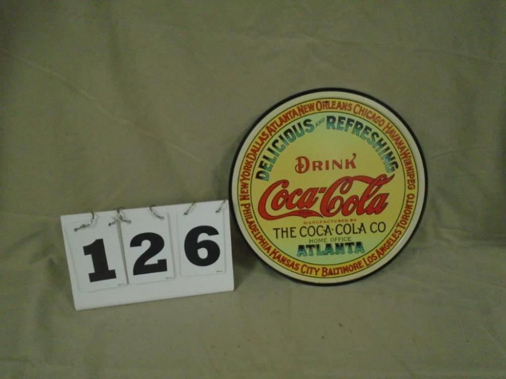 Coca-Cola round metal keg label sign  New sign - Current