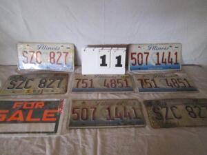 Lot of 7 license plates and a for sale sign