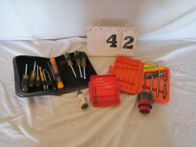 Lot of tools, tool pouch, nut driver, drill bits and hole saws