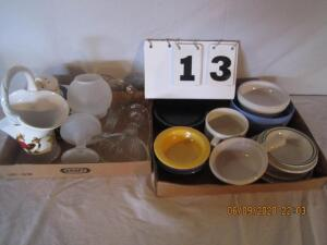 Lot of 2 flats of misc. glassware and bowls